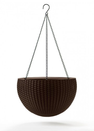 Кашпо HANGING SPHERE PLANTER (Хенгинг Сфер Плантер) с подвесом коричневое из пластика под фактуру ротанга