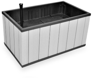 Кашпо SEQUOIA DUOTECH MEDIUM PLANTER (Секуойа Дуотэч) коричневато-серое 99х57х55 из пластика под фактуру дерева